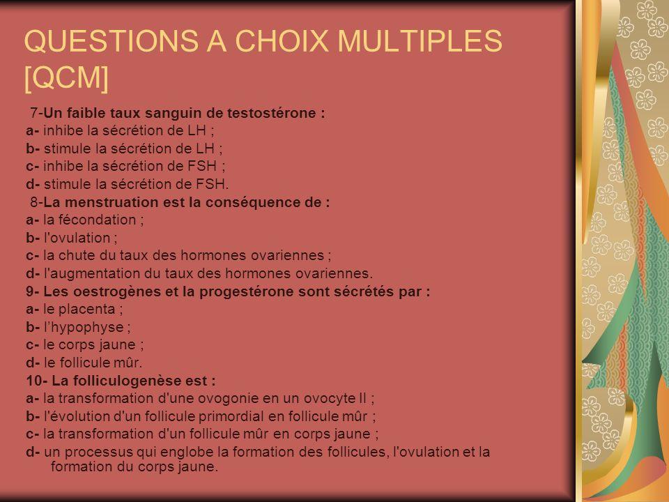QUESTIONS A CHOIX MULTIPLES [QCM]